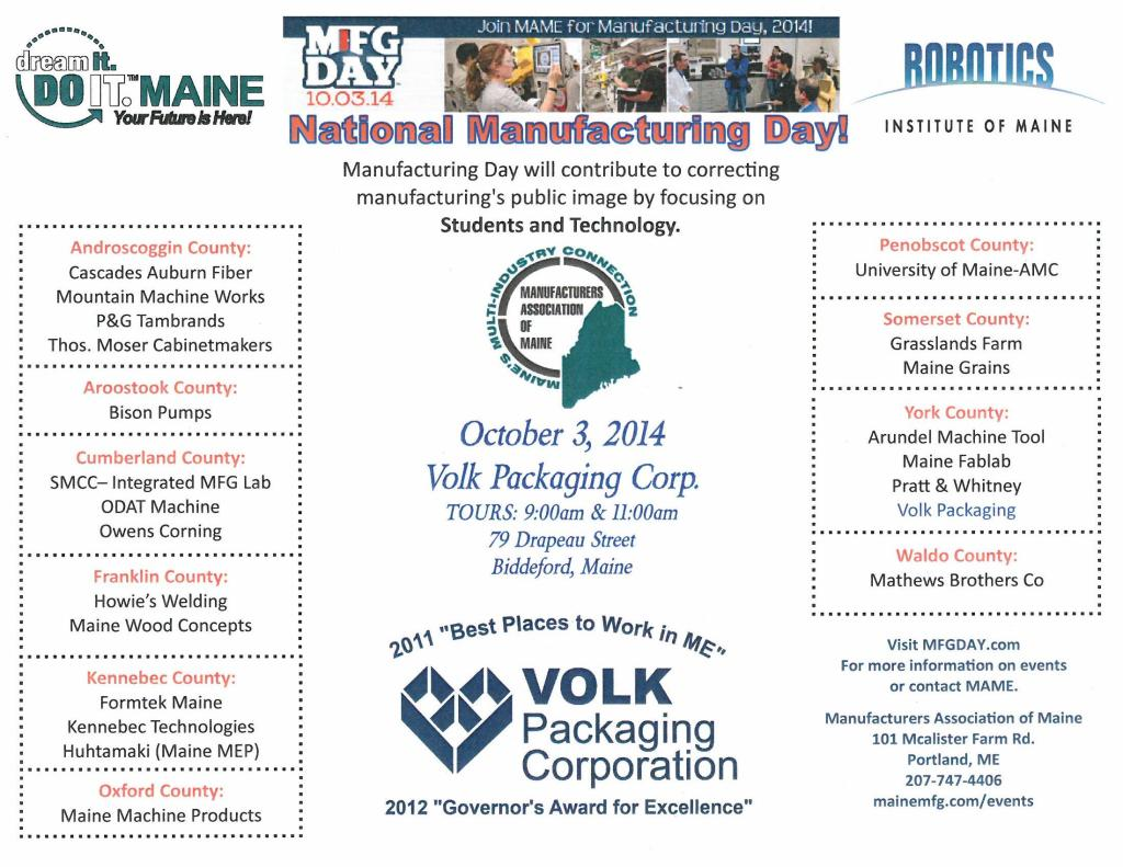 Invitation to Mfg Day at Volk Packaging - 10-3-14